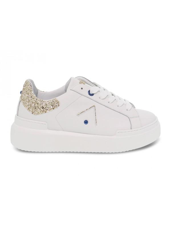 Sneakers Ed Parrish in pelle e glitter bianco e platino