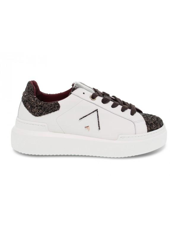 Sneakers Ed Parrish in pelle e glitter bianco e testa di moro