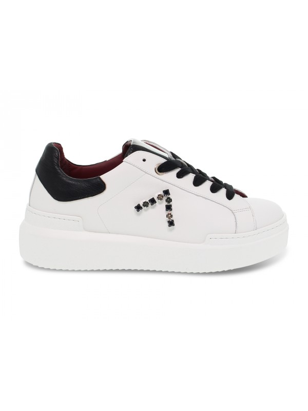 Sneakers Ed Parrish in pelle e crack bianco e nero