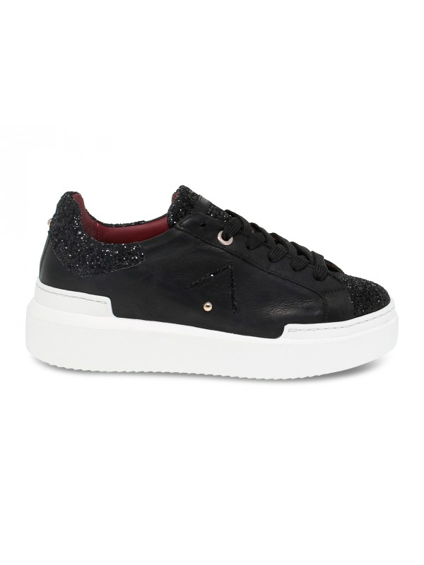 Sneakers Ed Parrish in pelle e glitter nero
