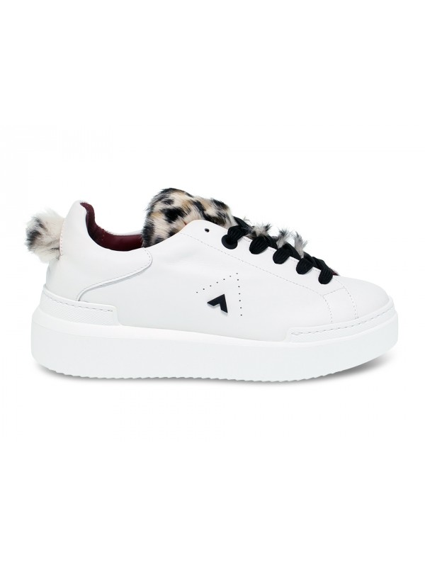Sneakers Ed Parrish in pelle e cavallino bianco e marrone