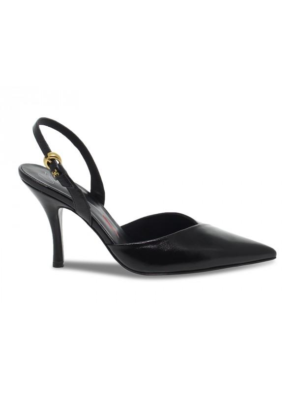 Sandalo con tacco Fabi STILE CHANELL in pelle e vernice nero