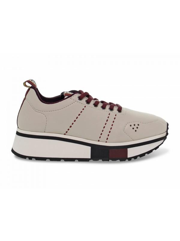 Sneakers Fabi in pelle panna e bordeaux