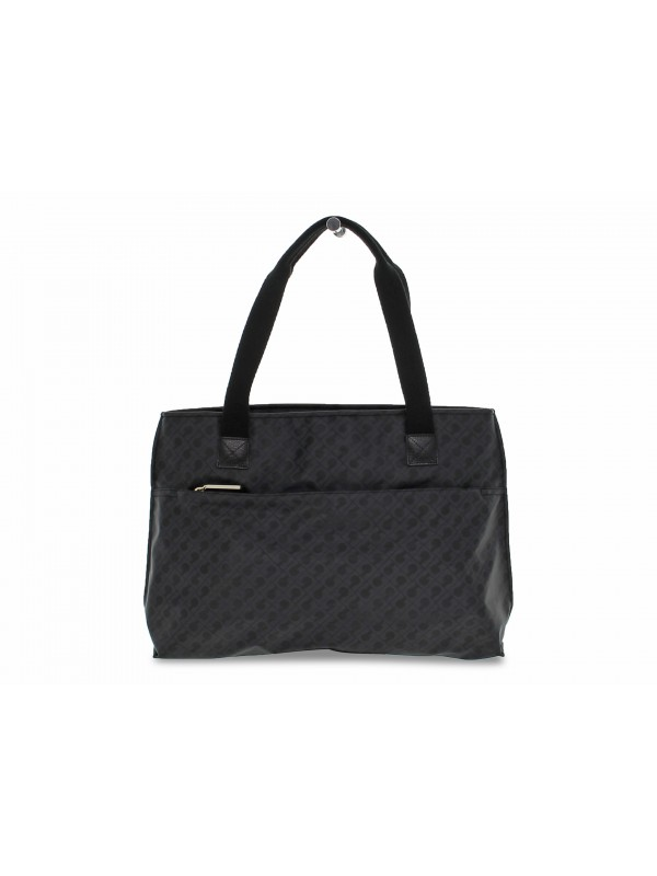 Shopping bag Gherardini SOFTY SHOPPING BAG in tessuto e pelle nero
