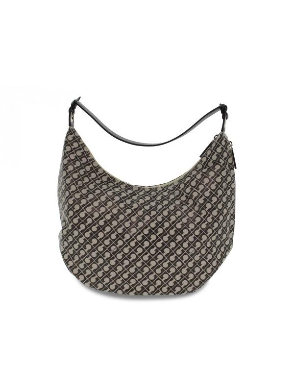 Shopping bag Gherardini SOFTY HOBO LUGGAGE in tessuto e pelle grigio e nero