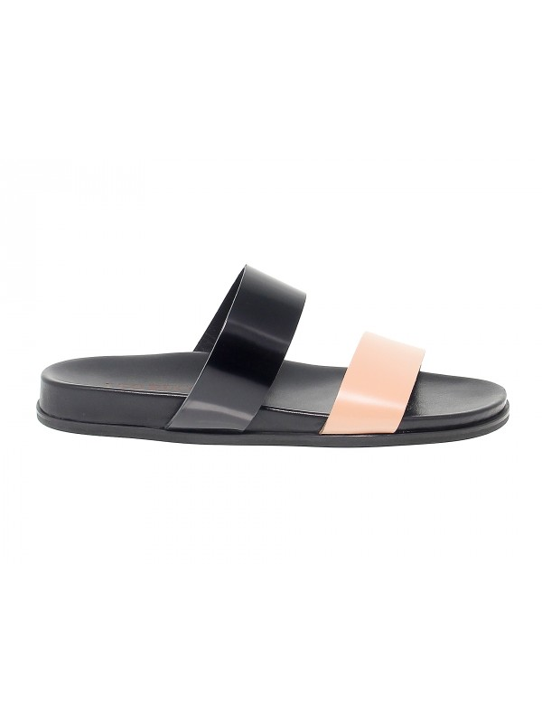 Sandalo Leo Pucci in pelle nero e carne