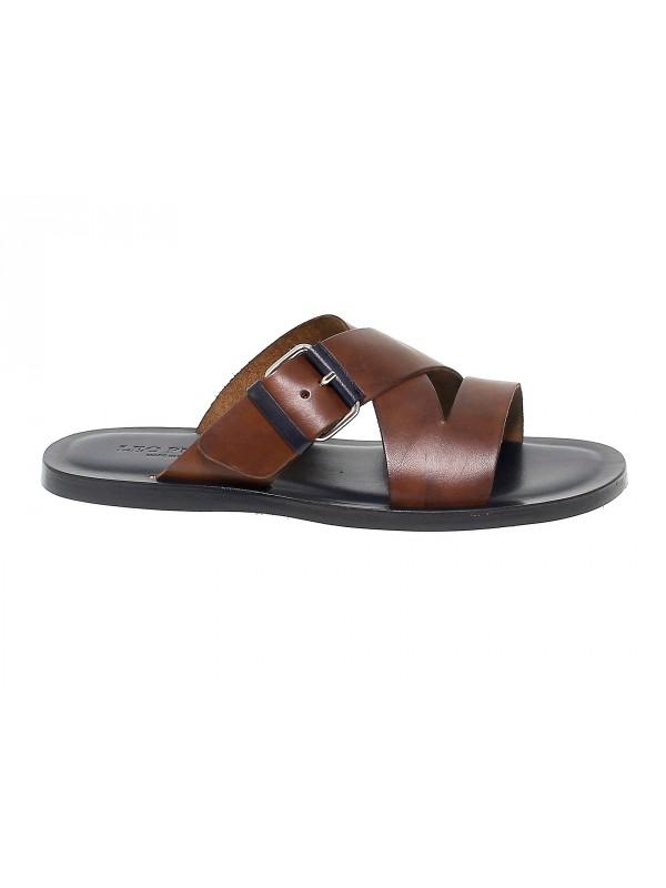 Sandalo Leo Pucci in pelle marrone e blu
