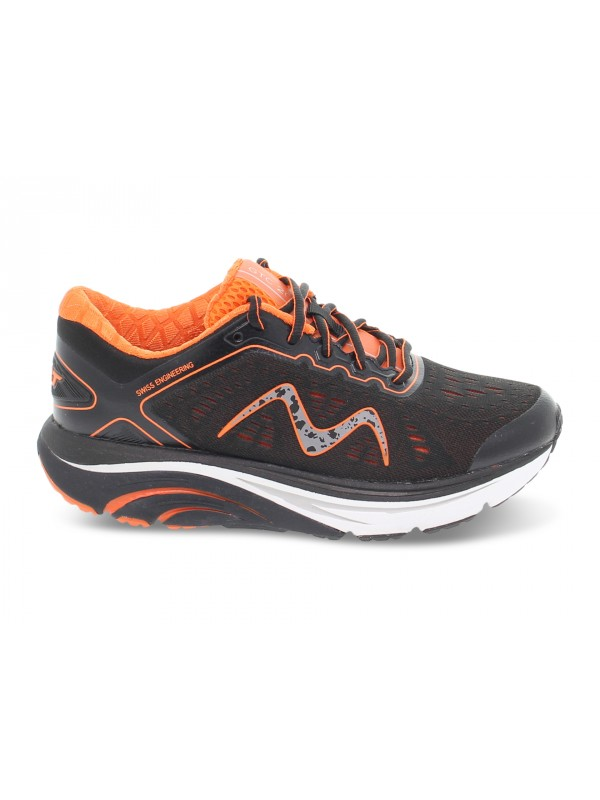 Sneakers MBT GTC-2000 LACE UP RUNNING W in tessuto e ecopelle nero e arancione