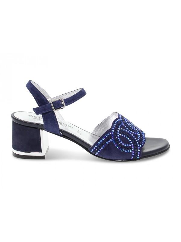 Sandalo basso Pasquini Calzature in camoscio e crystal blu e argento