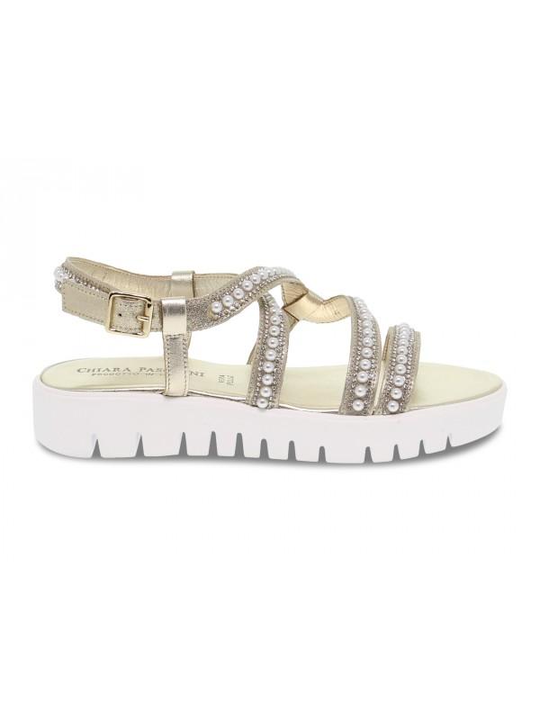 Sandalo basso Pasquini Calzature in laminato e crystal platino e oro