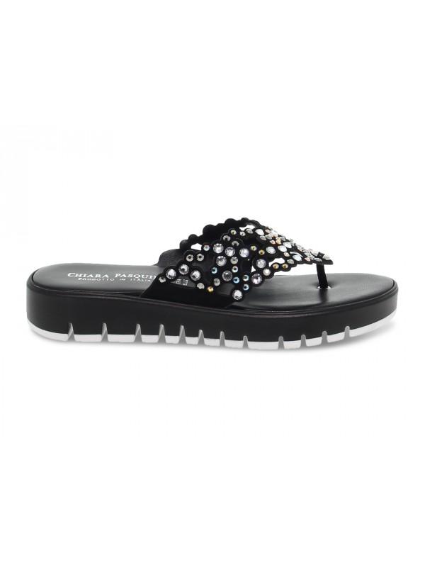 Sandalo basso Pasquini Calzature CIABATTA INFRADITO GIOIELLO in camoscio e crystal nero e multicolore