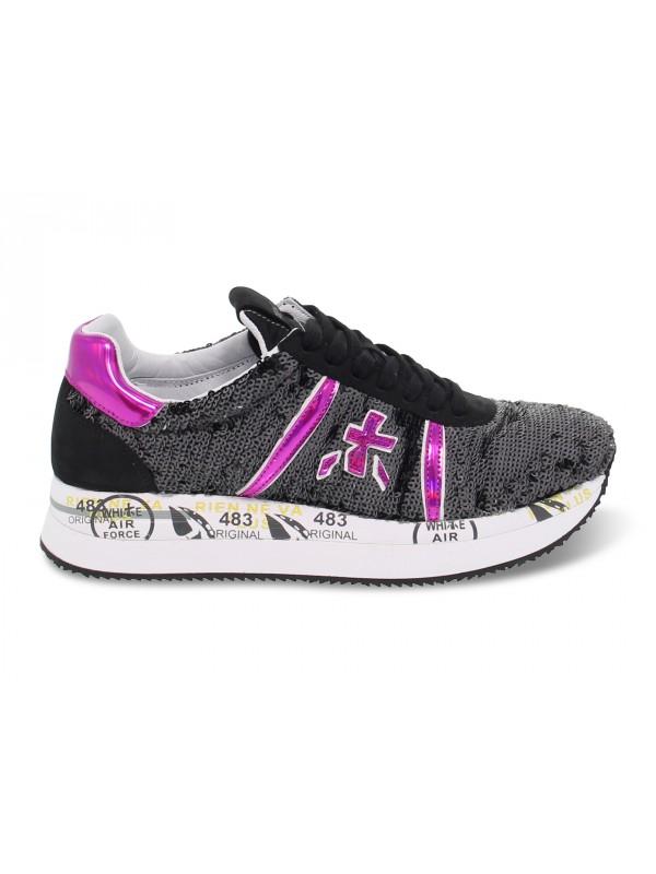 Sneakers Premiata CONNY in paillettes e vernice nero e fuxia