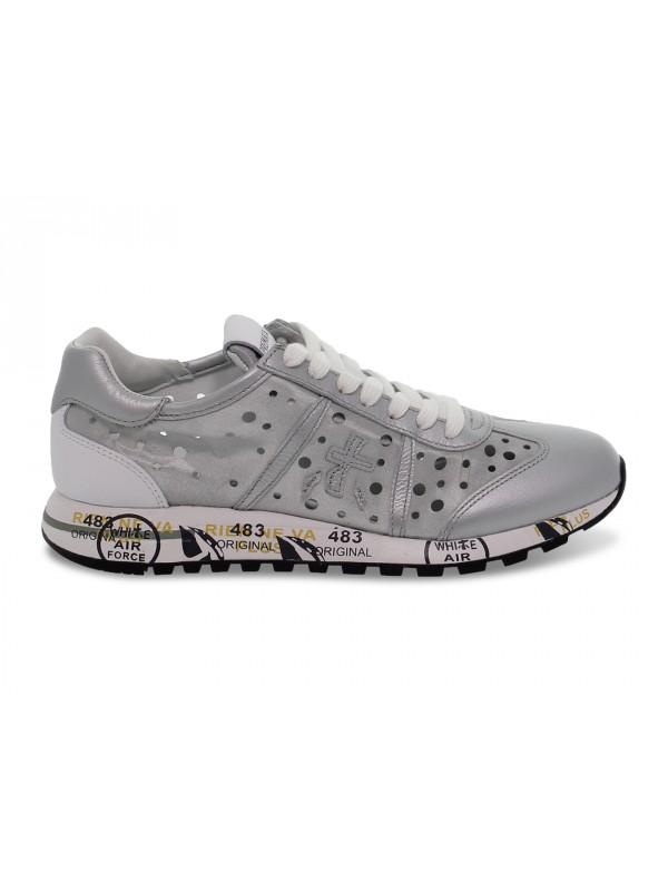 Sneakers Premiata LUCY D in nylon e laminato argento e bianco