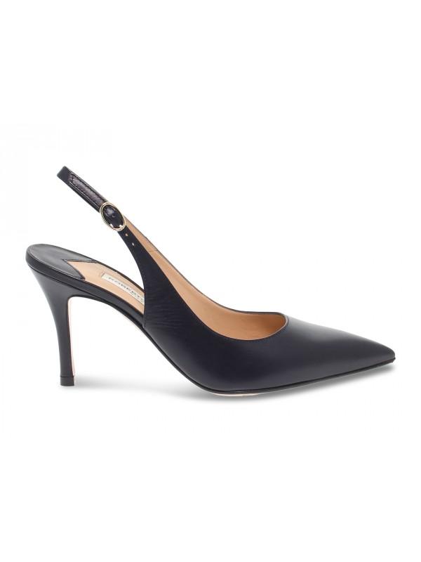 Sandalo con tacco Roberto Festa Milano CHIARAFERRAGNI in pelle blu scuro