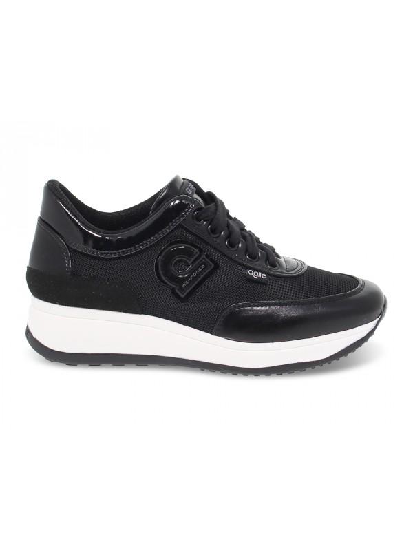 Sneakers Ruco Line AGILE AUDREY in pelle e tessuto nero