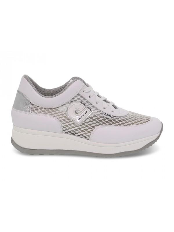 Sneakers Ruco Line AGILE AUDREY in rete e pelle bianco e argento