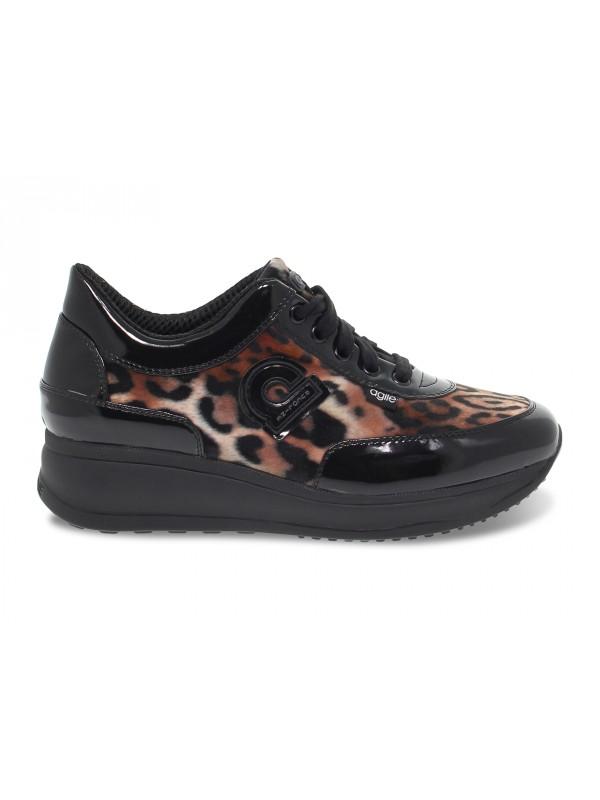 Sneakers Ruco Line AGILE in vernice e pelle maculato e nero