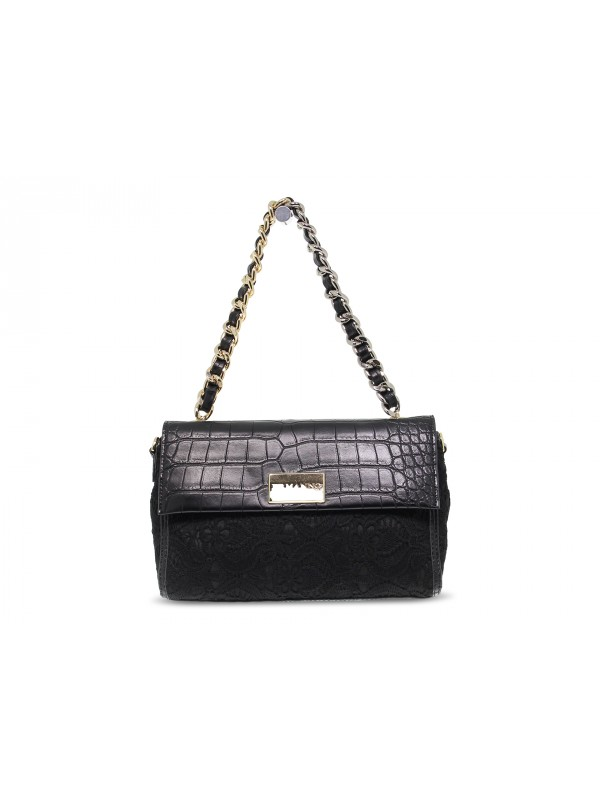 Borsa a mano Ermanno Scervino SMALL FLAP BAG ILENIA LACE in ecopelle e pizzo nero