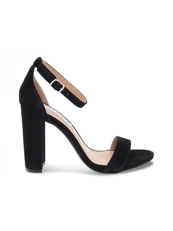 Sandalo con tacco Steve Madden CARRSON SUEDE BLACK in camoscio nero