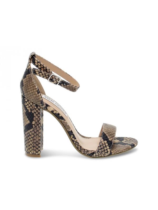 Sandalo con tacco Steve Madden CARRSON TAN SNAKE LEATHER in pitonato snake e cuoio