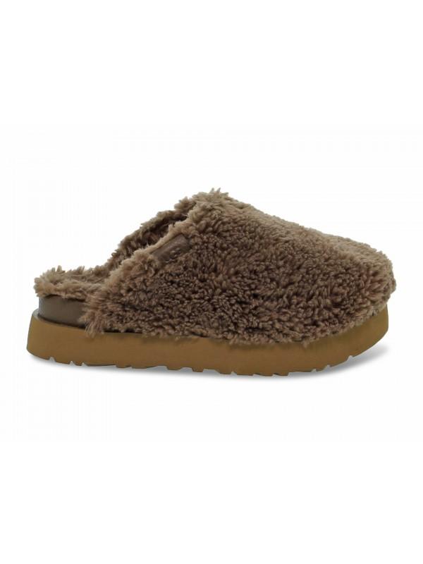 Sandalo UGG Australia FUZZ SUGAR SLIDE HICKORY in camoscio marrone