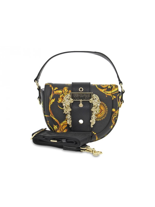 Borsa a mano Versace Jeans Couture JEANS COUTURE SKETCH 2 BAG BAROQUE BUCKLE in saffiano nero e giallo