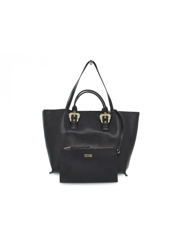Shopping bag Versace Jeans Couture JEANS COUTURE SKETCH 9 BAG GRANA BUCKLE in nappa nero