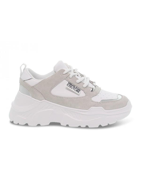 Sneakers Versace Jeans Couture JEANS COUTURE SPEED in pelle e camoscio bianco e argento