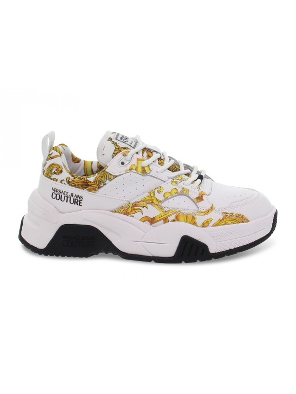 Sneakers Versace Jeans Couture JEANS COUTURE FIRE in pelle e vernice bianco e giallo