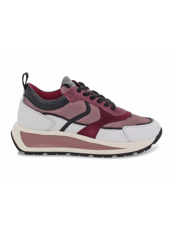 Sneakers Voile Blanche CLUB103 in pelle e nylon bianco e rosa