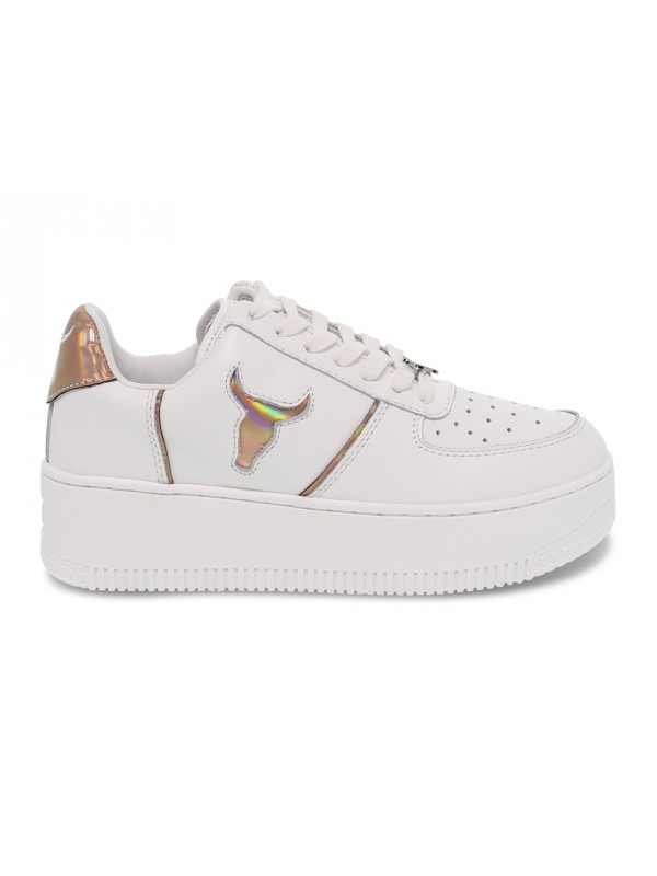 Sneakers Windsor Smith ROSY BRAVE WHITE ROSE GOLD HOLOGRAPHIC in pelle bianco e oro