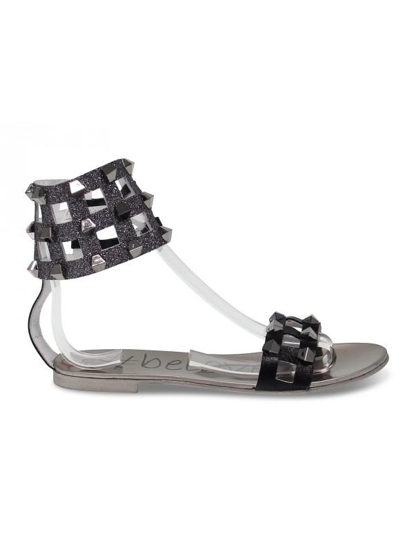 Flat sandals Alberto Venturini FLAT GLADIATORE in gunmetal laminate