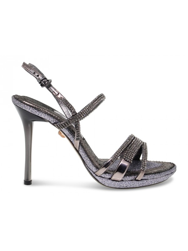 Heeled sandal Alberto Venturini GIOIELLO in gunmetal crystal