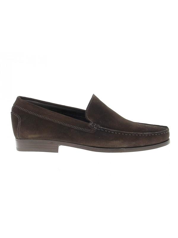 Loafer Antica Cuoieria in dark brown suede leather