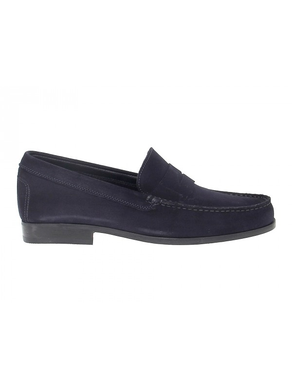 Loafer Antica Cuoieria in blue suede leather