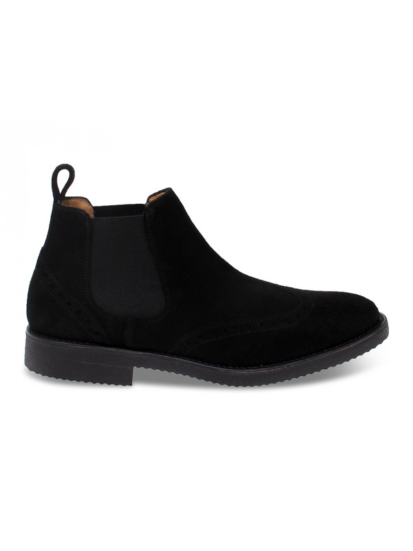 Low boot Antica Cuoieria in black suede leather