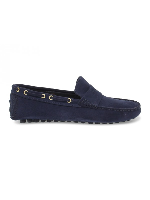 Loafer Antica Cuoieria CAR SHOES in dark blue suede leather