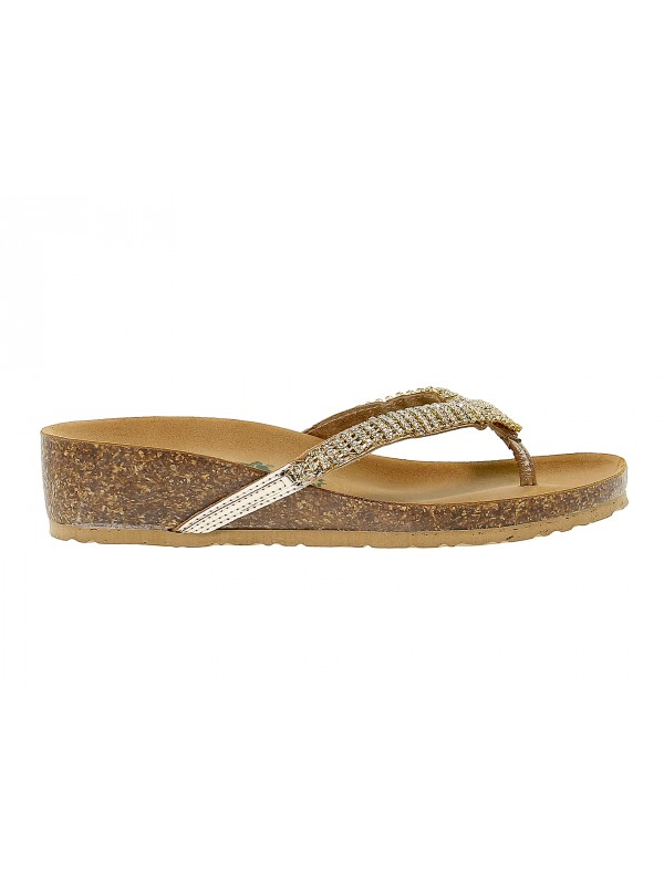 Flat sandals Bionatura in gold leather