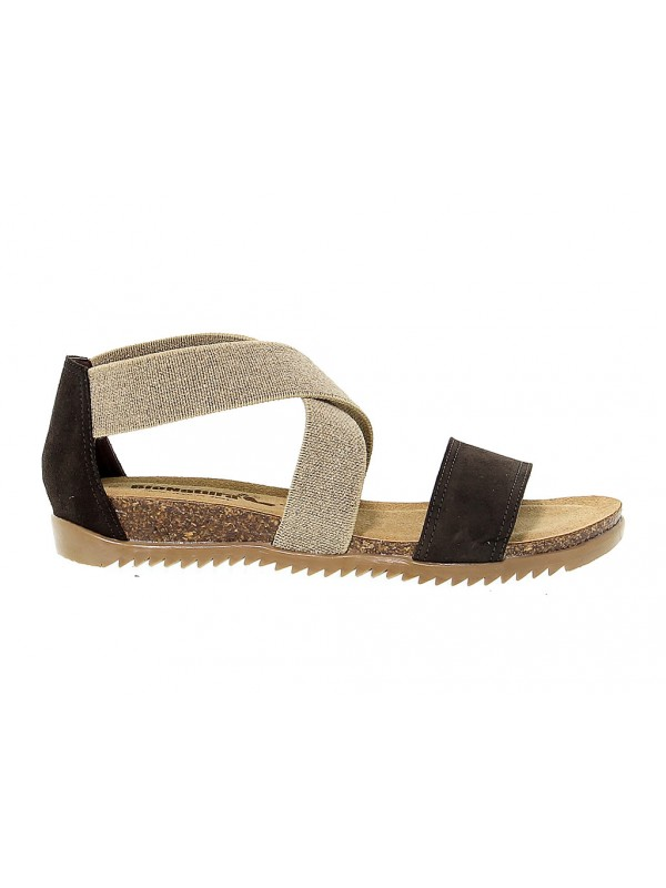 Wedge Bionatura in brown suede leather