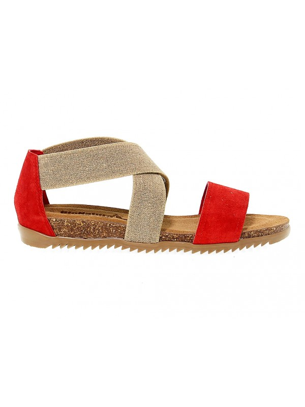 Wedge Bionatura in red suede leather