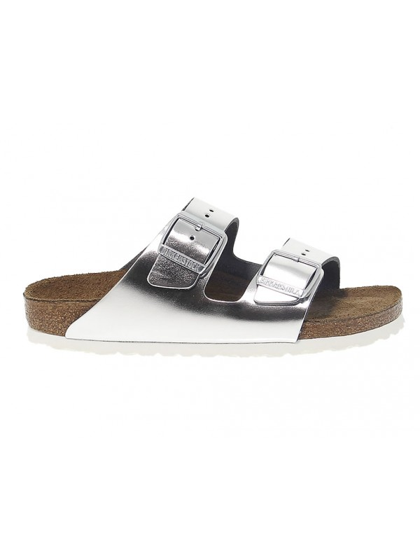 Flat sandals Birkenstock ARIZONA in silver leather