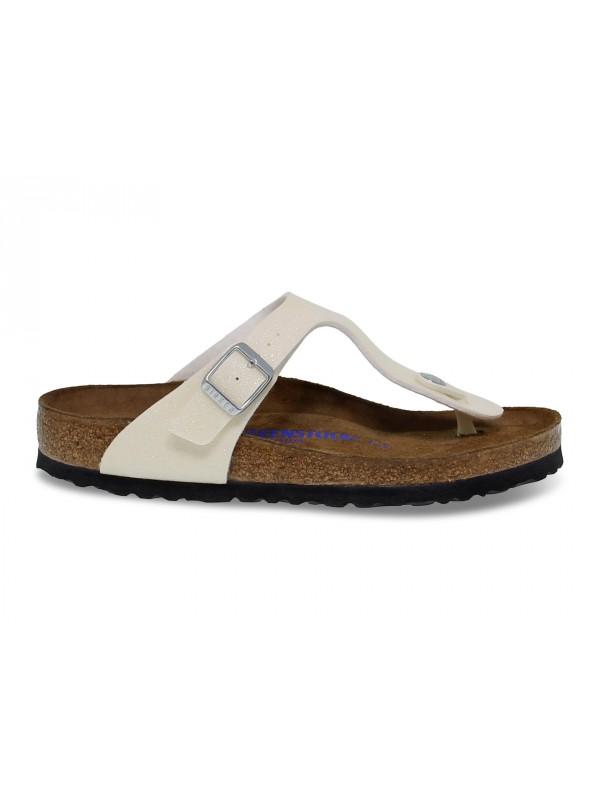 Flat sandals Birkenstock GIZEH in pearl birkoflor