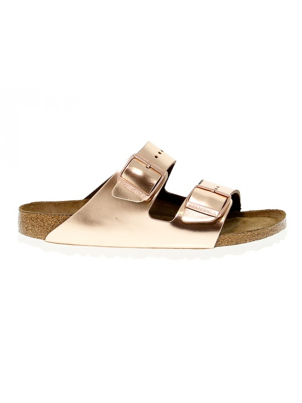 Flat sandals Birkenstock ARIZONA in platinum leather