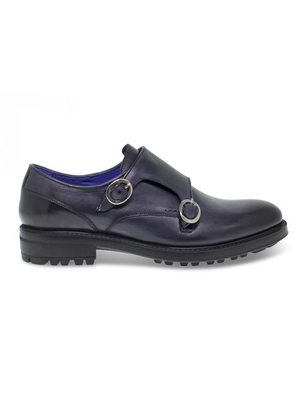 Laceless Brecos in blue leather