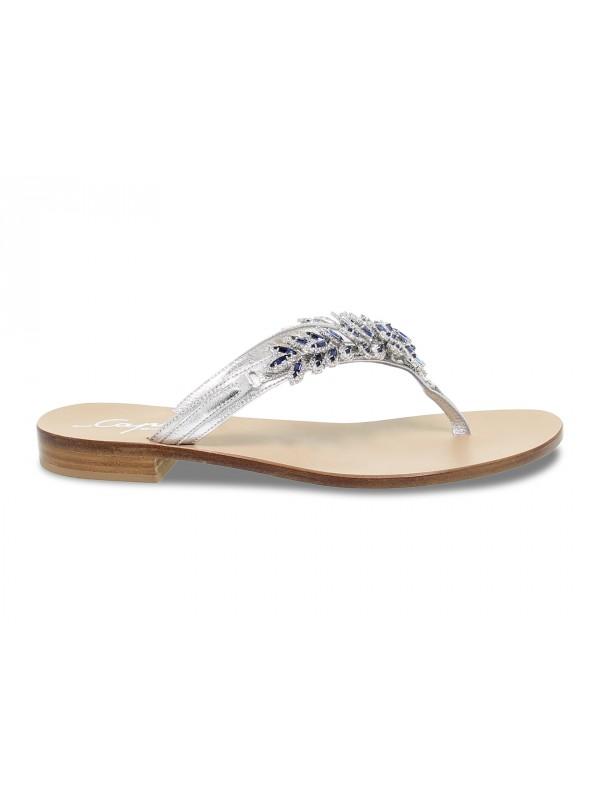 Flat sandals Capri POSITANO in silver laminate