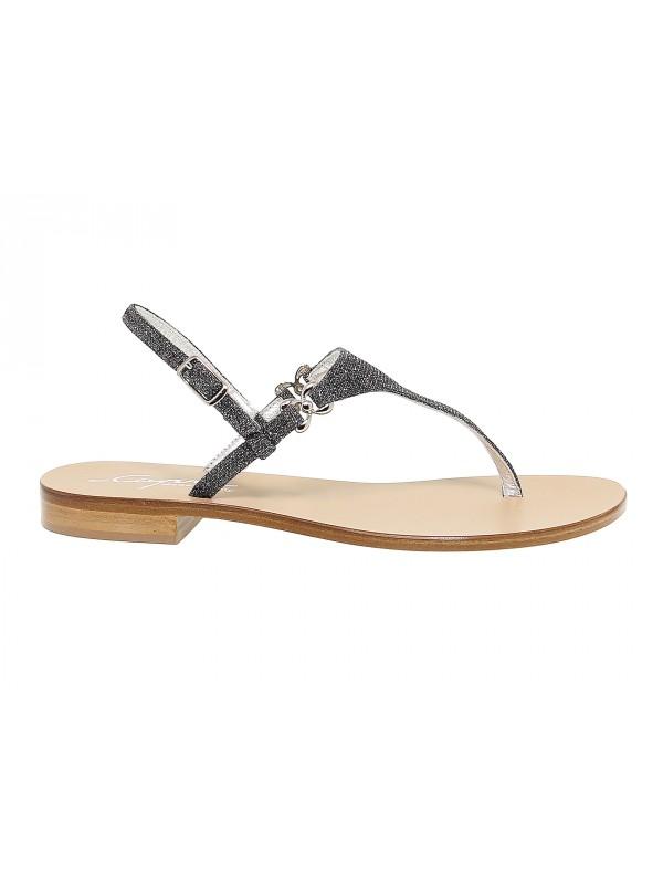 Flat sandals Capri POSITANO in nickel glitter