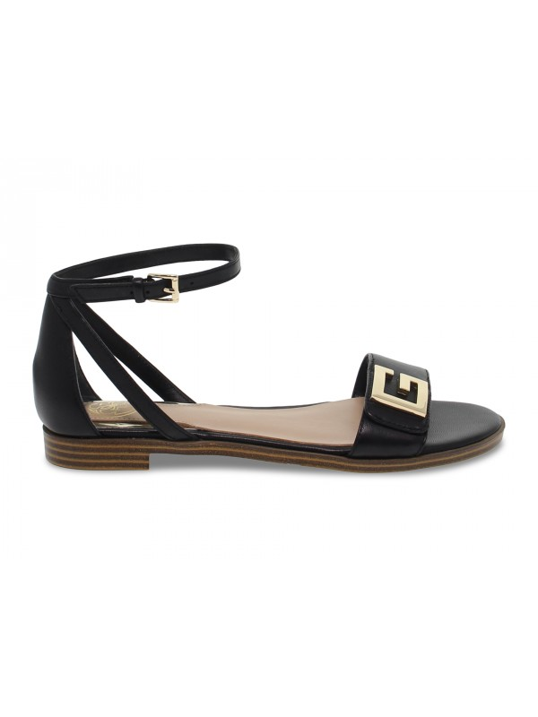 Flat sandals Guess in black leather