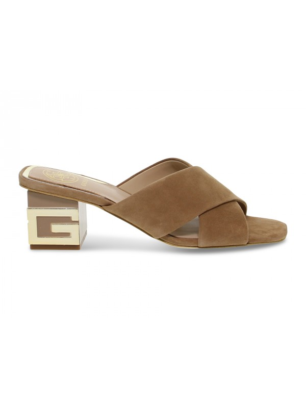 Flat sandals Guess in taupe suede leather