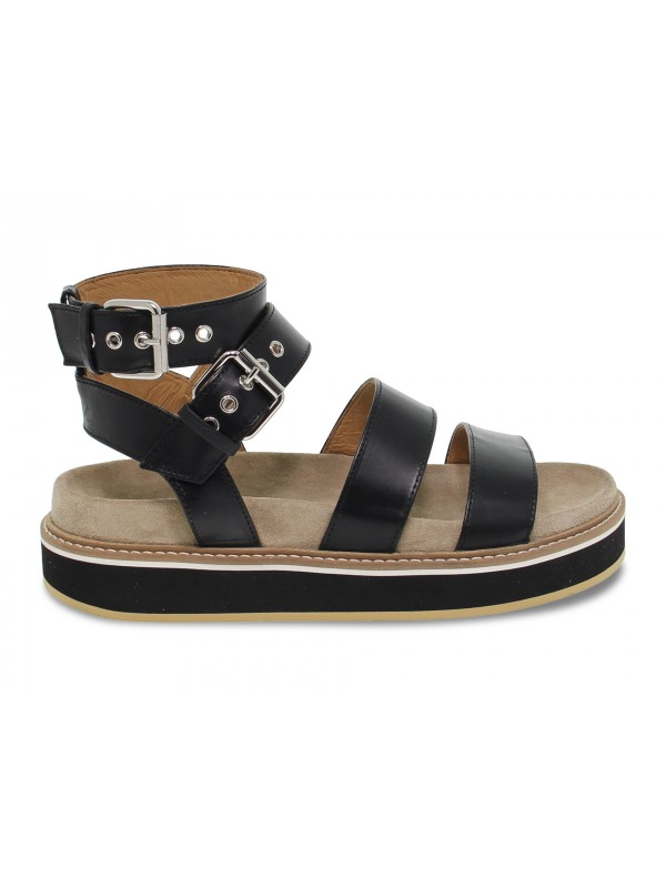 Flat sandals Janet Sport in black leather