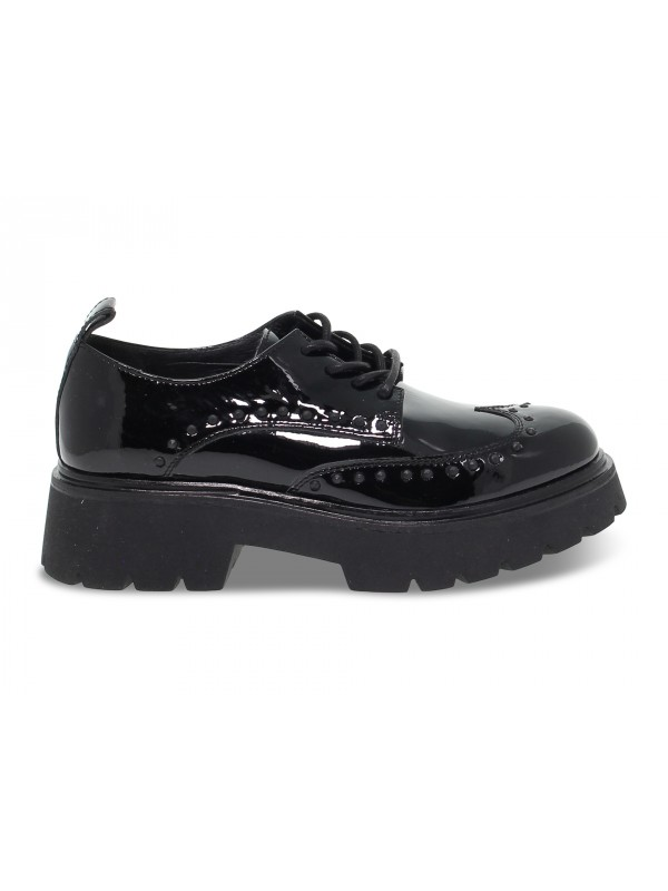 Flat shoe Janet Sport STILE INGLESE in black paint